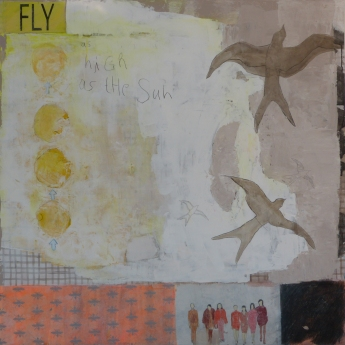 Fly, 2013, mixed media on canvas, 40 x 40 inches (available at Hang Art)