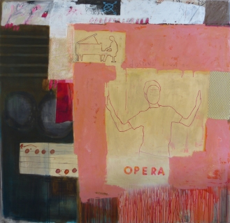 Jotting Down an Opera, 2012, mixed media on canvas, 60 x 62 inches (available at Hang Art)