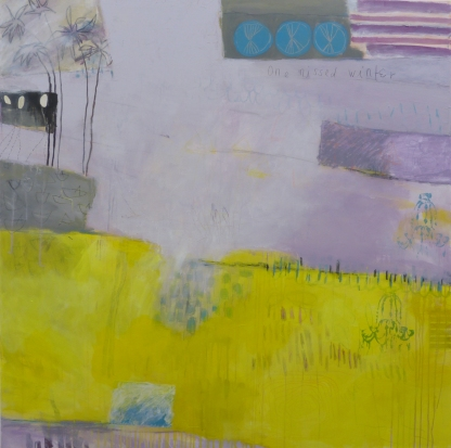 One Missed Winter, 2009, mixed media on canvas, 60 x 60 inches (available at Hang Art)