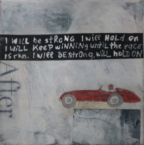 After the Race, 2013, mixed media on canvas, 8 x 8 inches (sold)