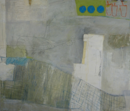 Airfare, 2010, mixed media on canvas, 60 x 90 inches (sold)