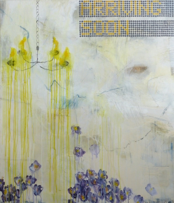 Arriving Soon, 2013, mixed media on canvas, 56 x 48 inches (sold)