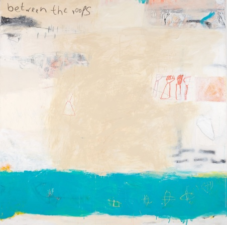 Between the Roofs, 2008, mixed media on canvas, 61 x 61 inches (sold)