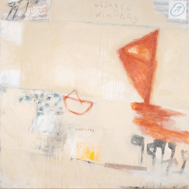 Bloated Windbag, 2009, mixed media on canvas, 61 x 61 inches (sold)