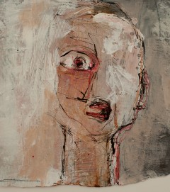 Head (3), 2009, mixed media on paper, 11 1/2 x 11 inches