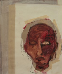 Head (12), 2010, mixed media on paper, 20 1/2 x 16 inches