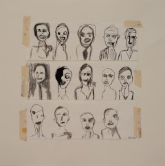 Faces, 2010, mixed media on paper, 18 x 18 inches