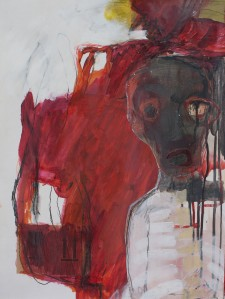 Head (4), 2009, mixed media on paper, ? x ? inches