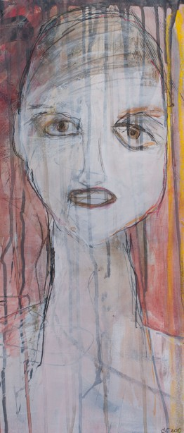 Head (8), 2010, mixed media on paper, 21 1/4 x 9 1/4 inches