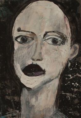 Head (6), 2010, mixed media on paper, 13 3/8 x 9 1/4 inches