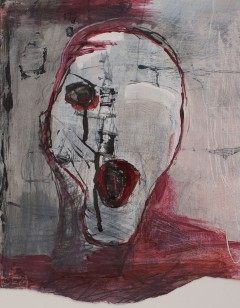 Head (2), 2009, mixed media on paper, 12 3/8 x 9 3/4 inches