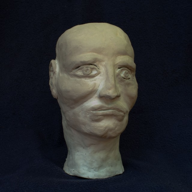 Head Sculpture (2), 2010, clay, 7 1/2 inches (destroyed)
