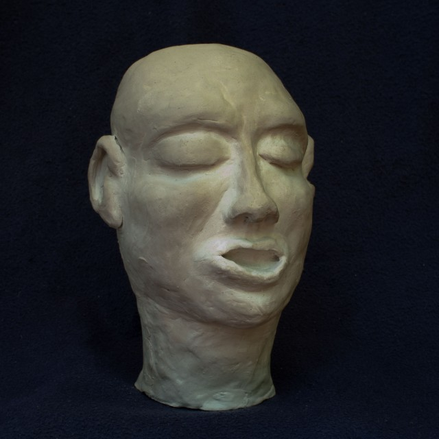 Head Sculpture (3), 2010, clay, 7 1/2 inches (destroyed)
