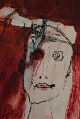 Head (13), 2010, mixed media on paper, 18 1/2 x 12 1/2 inches