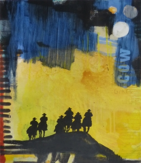 Cowgirls (2), 2013, mixed media on canvas, 8 x 10 inches (sold)