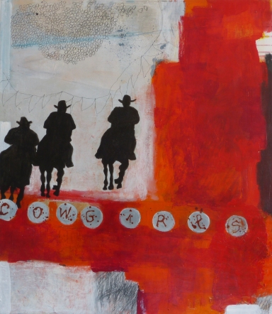 Cowgirls, 2013, mixed media on canvas, 30 x 26 inches (sold)