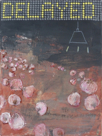 Delayed, 2013, acrylic on canvas, 15 3/4 x 11 3/4 inches (sold)