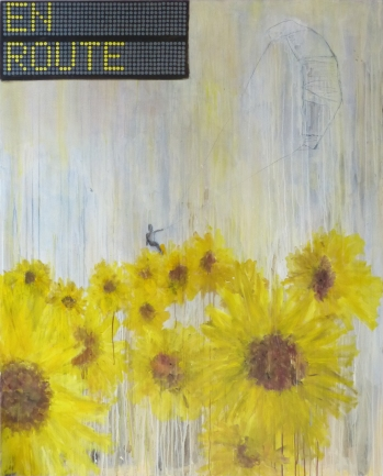 En Route, 2013, mixed media on canvas, 60 x 40 inches (sold)
