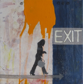 Exit Strategy, 2013, acrylic on canvas, 8 x 8 inches (sold)