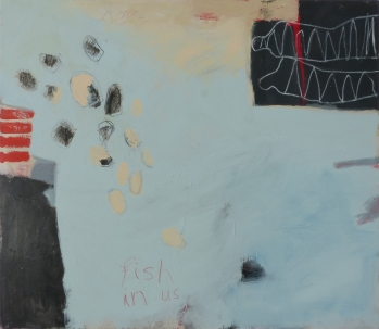 Fish in Us, 2014, mixed media on canvas, 24 x 30 inches (sold)
