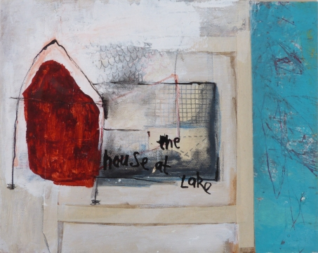 House at the Lake, 2012, mixed media on canvas, 8 x 10 inches (sold)
