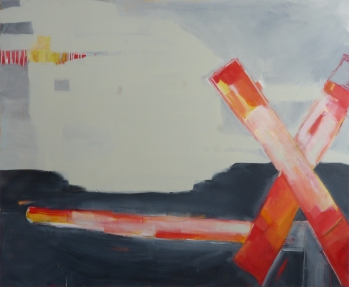 In or Out, 2015, acrylic on canvas, 46 x 56 inches (sold)
