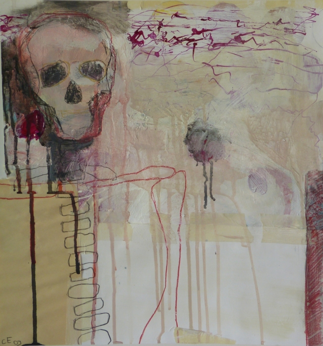 Inside Man, 2009, mixed media on paper, 18 x 17 inches