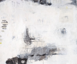 Between the Roofs (2), 2008, mixed media on paper, 39 x 47 inches