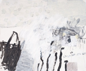 Between the Roofs (3), 2009, mixed media on paper, 39 x 47 inches