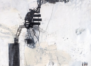 Between the Roofs (1), 2008, mixed media on paper, 30 x 41 1/2 inches