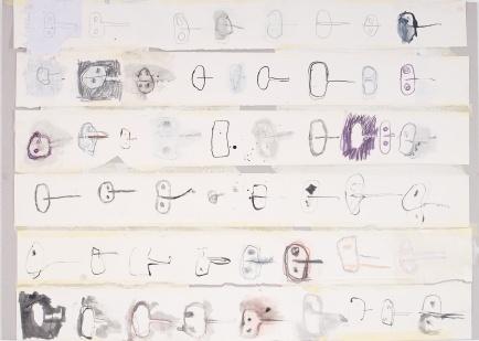 Variationen von Aufgemacht, 2008, mixed media on paper on paper, 29 1/2 x 41 inches