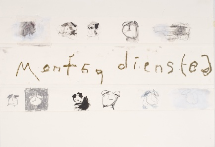 Montag Dienstag (Monday Tuesday), 2008, mixed media on paper on canvas, 17 1/2 x 39 inches