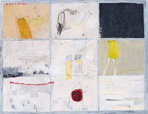 Short Stories, 2008, mixed media on paper on canvas, 18 x 24 inches