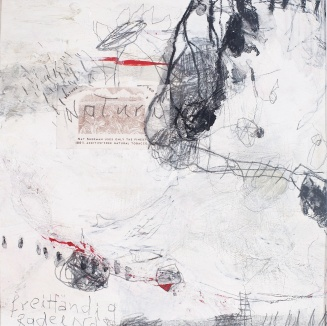 Freihändig radelnd (2) (Riding No-Hands 2), 2009/16, mixed media on paper, mounted on panel, 12 x 12 inches