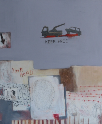 Keep Your Head Free, 2013, mixed media on canvas, 48 x 40 inches (sold)