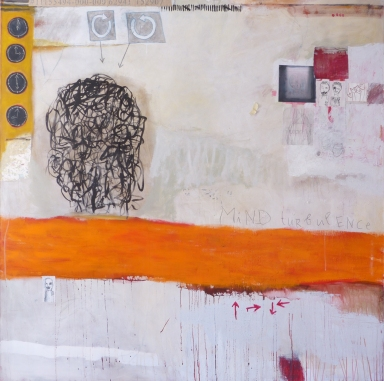 Mind Turbulence, 2012, mixed media on canvas, 60 x 60 inches (sold)