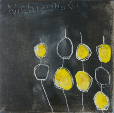 Night Signals, 2014, acrylic on canvas, 18 x 18 inches (sold)