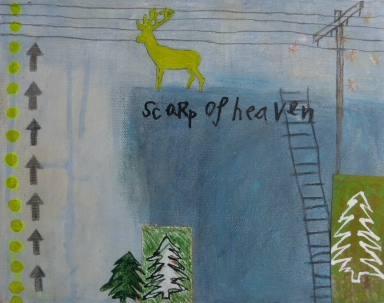Scarp of Heaven, 2012, mixed media on canvas, 8 x 10 inches (sold)