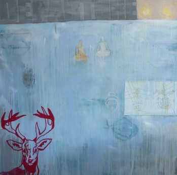 Tattooing the Sky, 2013, mixed media on canvas, 56 x 56 inches (sold)