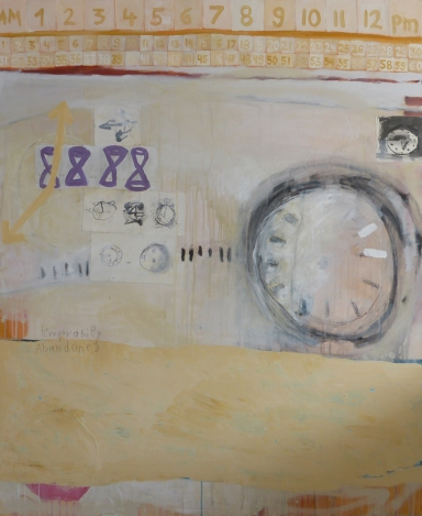 Temporarily Abandonded, 2013, mixed media on canvas, 56 x 48 inches (sold)