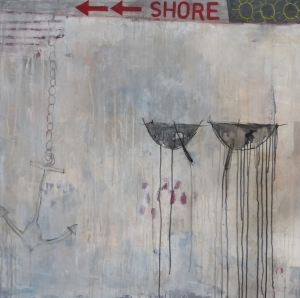 To the Shore, 2013, acrylic on canvas, 40 x 40 inches (sold)