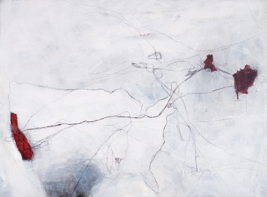 Traced, 2007, mixed media on canvas, 30 x 40 inches (sold)