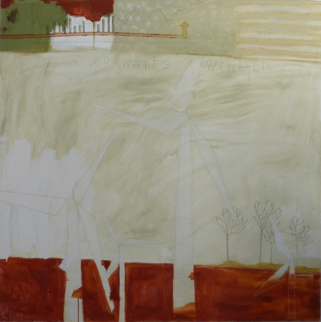 Vorwärts winden (Drifting Forward), 2009, mixed media on canvas, 60 x 60 inches (sold)