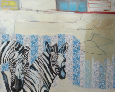 Zebras in the Closet, 2014, mixed media on canvas, 48 x 60 inches (sold)