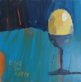 Egg in Style, 2018, acrylic on canvas, 12 x 12 inches