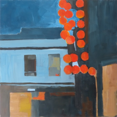 At Night, On the Street, Alone, 2018, acrylic on canvas, 40 x 40 inches (sold)
