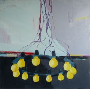 Swinging Chandelier, 2018, acrylic on canvas, 36 x 36 inches (available at Hang Art)