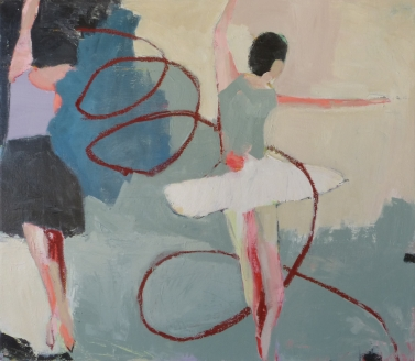 The Two Graces (Vienna), acrylic, oil pastel on canvas, 26 x 30 inches (available at Hang Art)